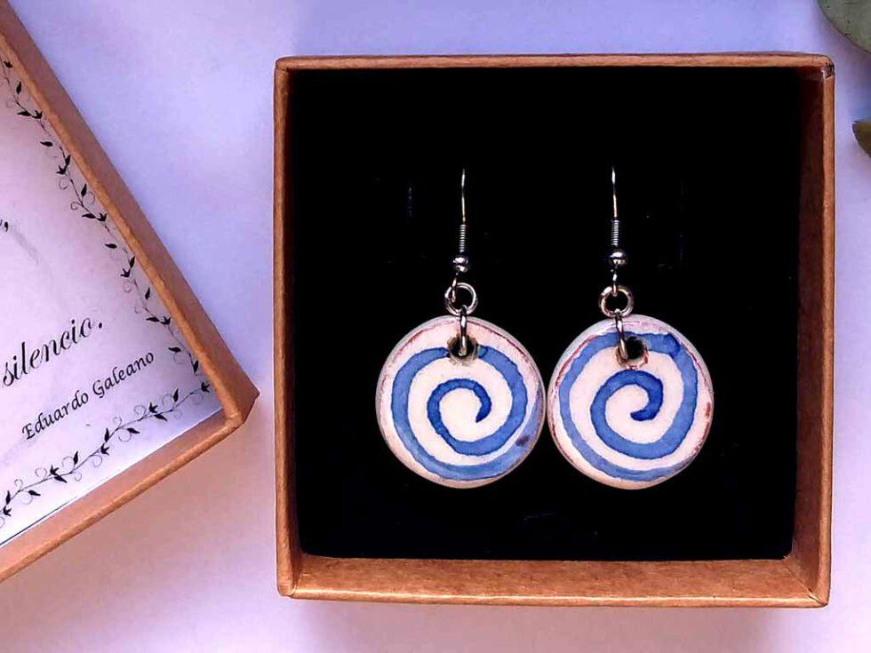 pendientes ceramica redondos espiral